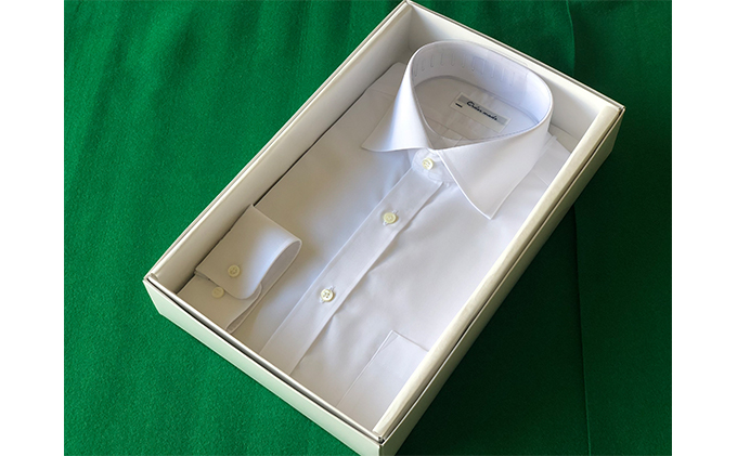 オーダーワイシャツT(ノーアイロン仕様)-川西町産「高瀬貝」の貝ボタンを使用-