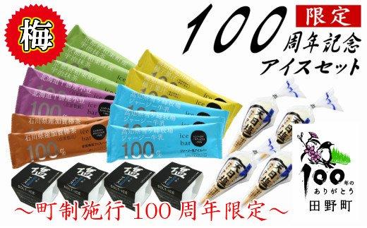 【町制施行100周年限定】~四国一小さなまち~ 松崎冷菓の100周年記念アイスセット〈梅〉