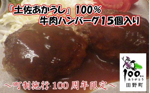 【町制施行100周年限定】~四国一小さなまち~ 土佐あかうし牛肉ハンバーグ15個入り