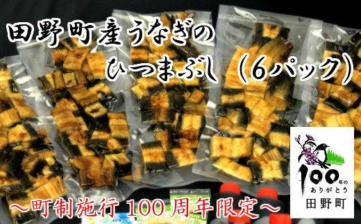 【町制施行100周年限定】~四国一小さなまち~ 田野町産うなぎのひつまぶし(6パック)