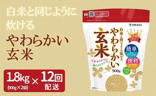 やわらかい玄米 1.8kg(900g×2袋) ※12回定期便 安心安全なヤマトライス H074-222