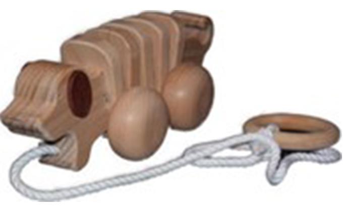 手作り木のおもちゃ お散歩ワンちゃん