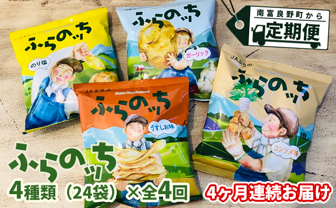 【4ヵ月連続お届け】JAふらのポテトチップス【ふらのっち】24袋入り×4種類