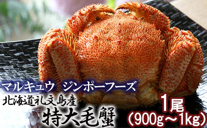 北海道礼文島産  急速冷凍特大毛蟹(900g~1kg)1尾