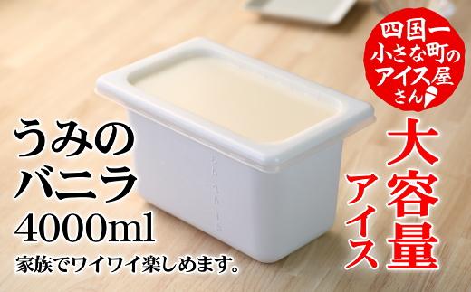 【四国一小さなまちのアイス屋さん】≪松崎冷菓≫ 大容量アイス4000ml うみのバニラ