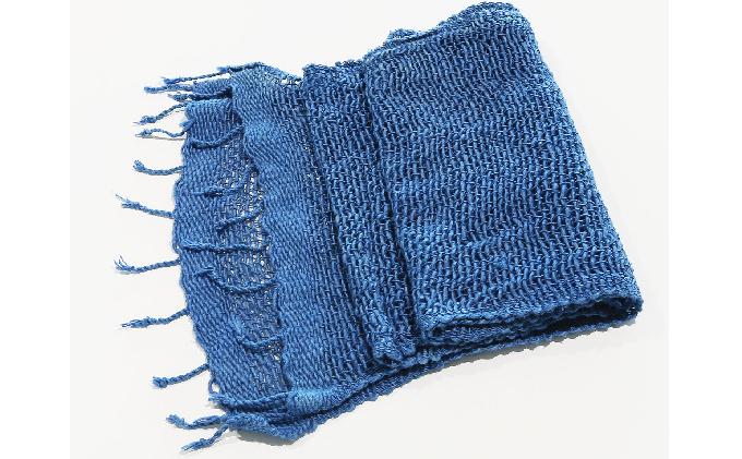 天然藍染 手織り綿マフラー青
