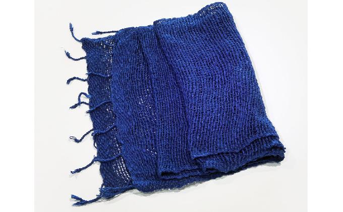 天然藍染 手織り綿マフラー濃紺