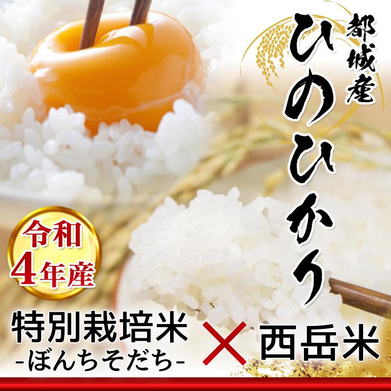 宮崎県都城市のふるさと納税 都城産ひのひかり 特別栽培米「ぼんちそだち」・「西岳米」 15kgセット_MK-2203