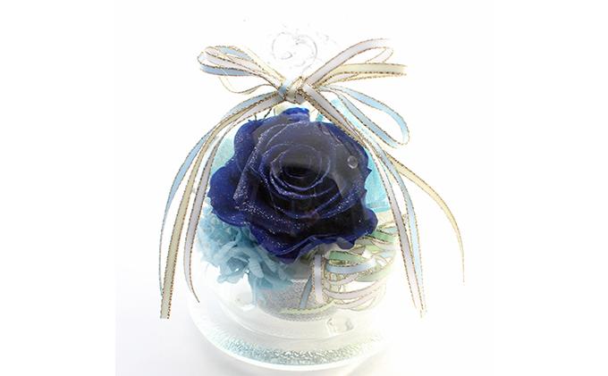 プリザーブドフラワー・Roseグラスドーム(ダークブルー)