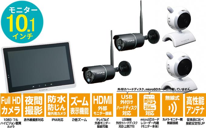 防犯カメラ 10.1インチモニター&ワイヤレスHDカメラ(屋外用2台・屋内用2台)セット