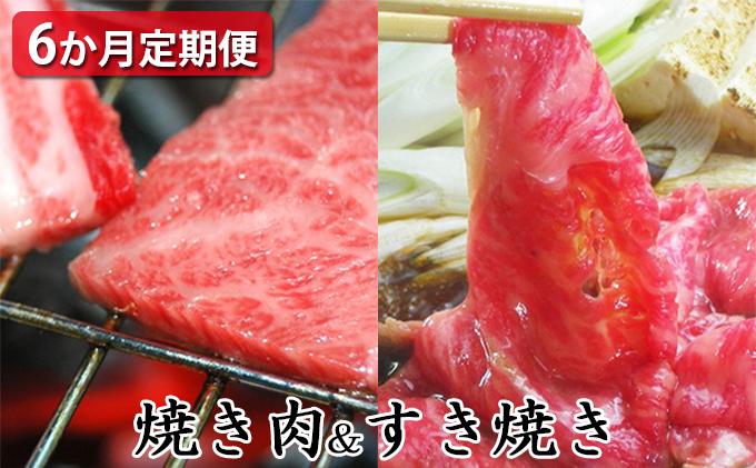【定期便6ヶ月】石見和牛でちょっと贅沢!焼肉・すき焼き定期便(合計約2.6kg)
