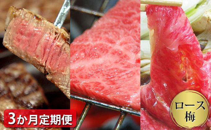 【定期便3ヶ月】石見和牛でちょっと贅沢!ロース定期便・梅(合計約1.7kg)