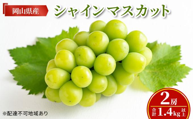 岡山県産 シャインマスカット 2房(合計1.4kg以上)