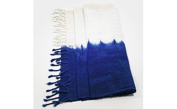 天然藍染 綿厚手マフラー