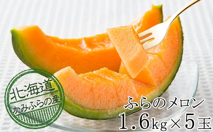 かみふらの赤肉メロン 約1.6kg 5玉セット