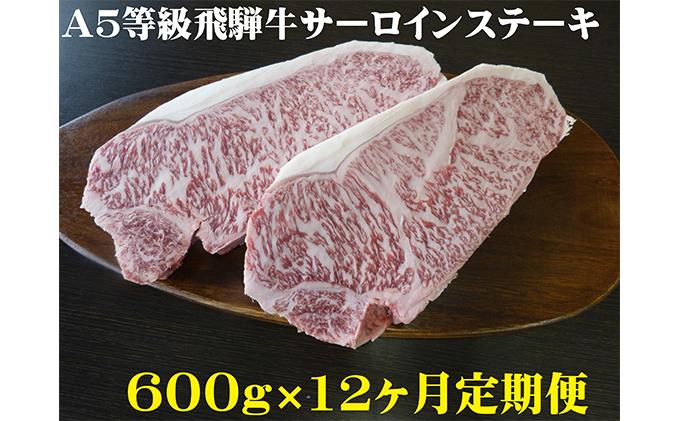 【12ヶ月定期便】A5等級 飛騨牛 サーロインステーキ用 600g