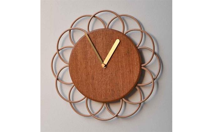 【YARN】お花のような時計 マホガニーの時計【L】