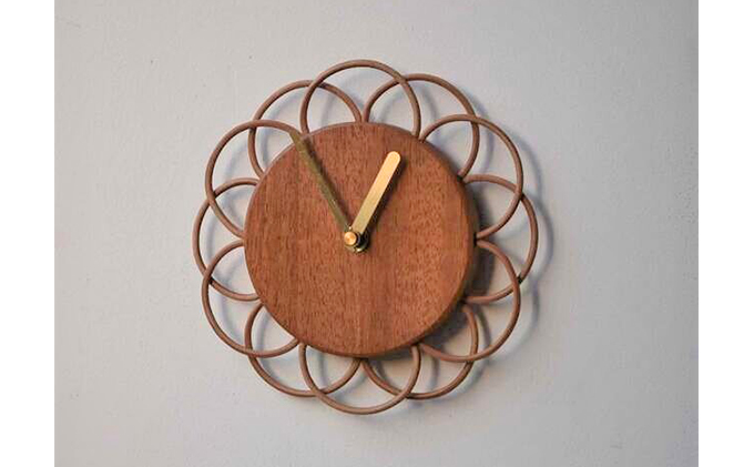 【YARN】お花のような時計 マホガニーの時計【M】