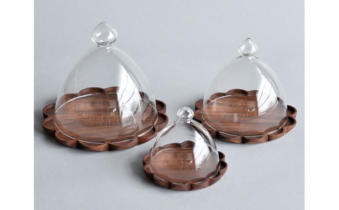 【YARN】かろやかなガラスドームとウォールナットのトレー【L 単品】