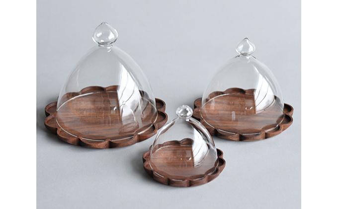 【YARN】かろやかなガラスドームとウォールナットのトレー【XL 単品】