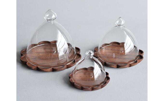 【YARN】かろやかなガラスドームとウォールナットのトレー【S 単品】