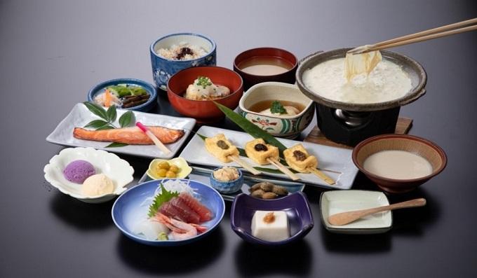 1-F刺身と豆腐ゆば会席ソフトドリンク付3名食事券