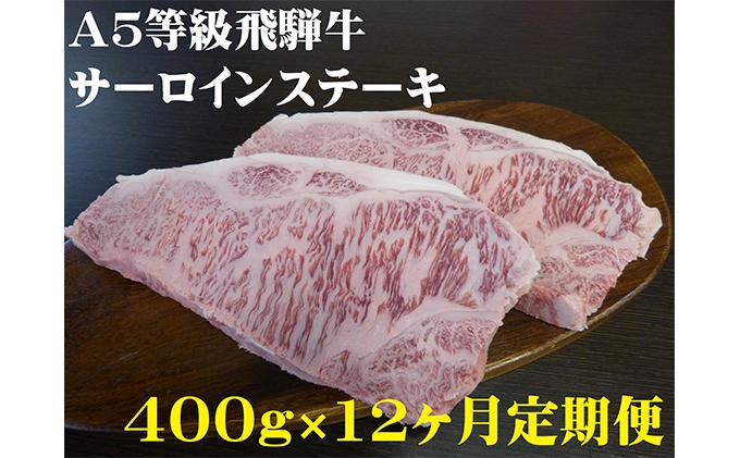 【12ヶ月定期便】A5等級飛騨牛サーロインステーキ用400g