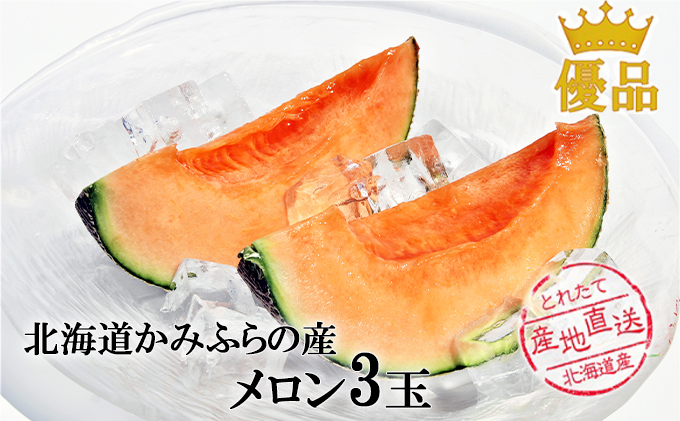 かみふらの産「ふらのメロン」1.6kg以上(優品)3玉
