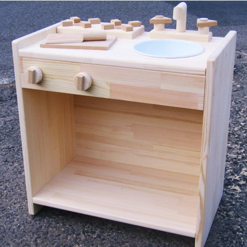 099H182 手作り木製 ままごとキッチン KHM 素材色バージョン