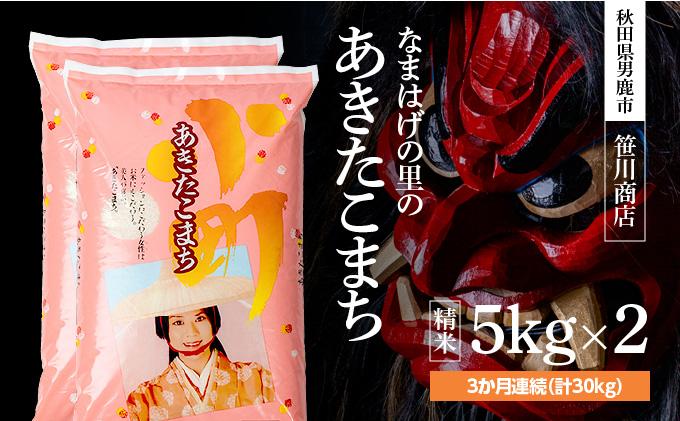 秋田県男鹿市のふるさと納税 令和3年産 なまはげの里のあきたこまち 精米 5kg×2袋 3ヶ月連続発送(合計 30kg) <早期受付>