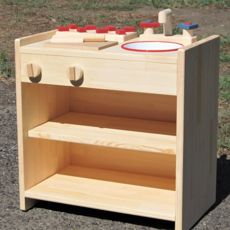 099H074 手作り木製ままごとキッチン 棚の着いたKHM−C