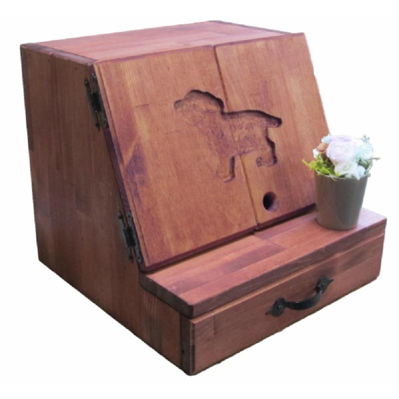 099H085 手作り木製ペット用仏壇・メモリアル プリザのお花付き