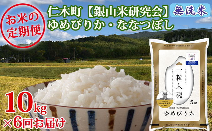 6ヶ月連続お届け 銀山米研究会の無洗米<ゆめぴりか&ななつぼし>セット(計10kg)