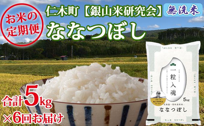 ≪新米予約≫6ヶ月連続お届け 銀山米研究会の無洗米<ななつぼし>5kg