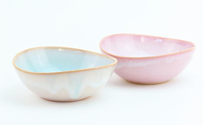 萩焼  ソライロ モモイロ ペア鉢
