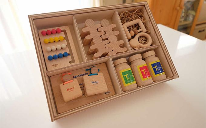 出産祝いや誕生日プレゼントに!木のおもちゃ5点セット(木製BOX箱入り)