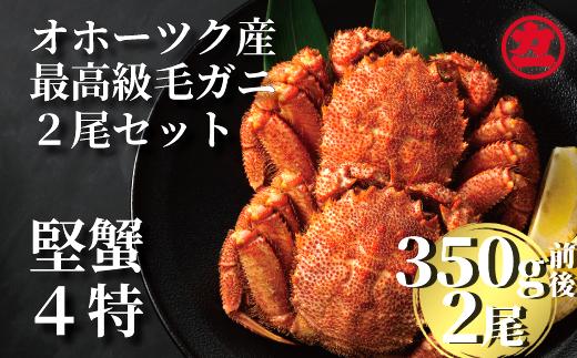14-10 オホーツク産【四特】毛ガニ 350g前後×2尾