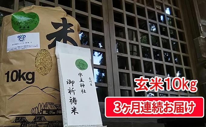 令和3年新米(玄米10kg×3ヶ月連続お届け)エコファーマーの特別栽培米 水主米(みずしまい)【ご祈祷米付き】
