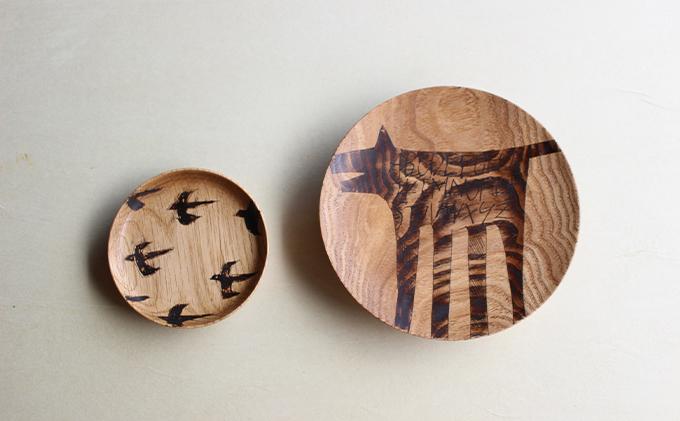 【宮内知子の木工作品】インテリアにも使える木工作家の漆で描いたお皿(大小サイズ各1枚)(大小サイズ各1枚)