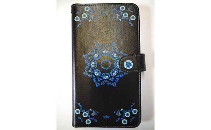 抗ウィルス!天平文様手帳型スマートフォンケース Dデザイン Lサイズ