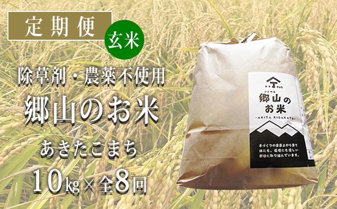 秋田県産あきたこまち(玄米)郷山のお米10kg(5kg×2袋)×8ヶ月定期便(8回 8ヵ月)