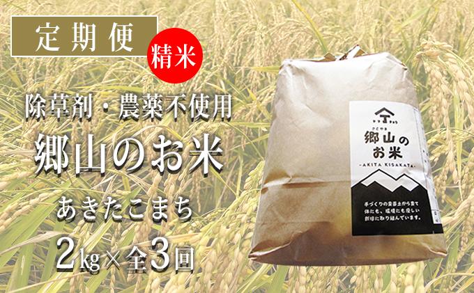 秋田県産あきたこまち(精米)郷山のお米2kg×3ヶ月定期便(3回 3ヵ月)