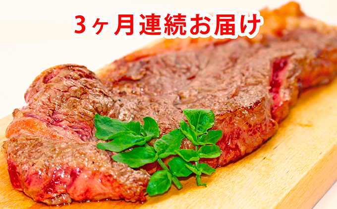 ≪月形熟成牛≫厚切りステーキセット 計18枚<2種計6枚×3ヶ月連続お届け>