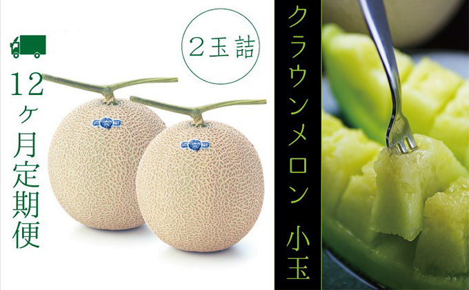 【12ヶ月定期便】クラウンメロン(白級)小玉(約0.9kg~)2玉 箱入り