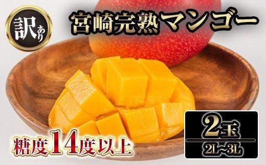 宮崎県串間市のふるさと納税 KU129 【訳あり】 宮崎完熟マンゴー てげよかセット 2Lから3Lサイズ2玉入り 糖度14度以上【やました農園】【KU129】