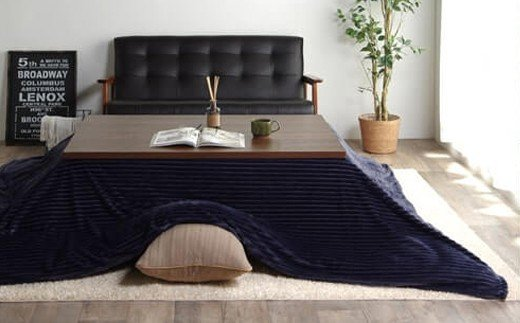 福岡県大木町のふるさと納税 AA081 カバー付きこたつ掛布団モルデ(200×200)(ネイビー)