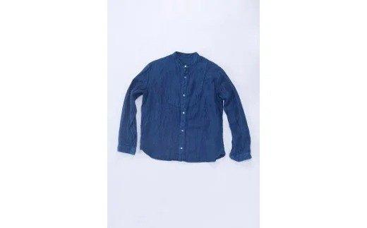 AO027 手染めリネン切替シャツ サイズ4 NAVY(藍染)