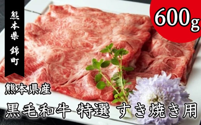 熊本県産 黒毛和牛 特選 すき焼き 用 600g