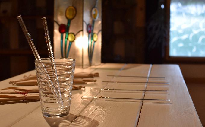 滋賀県米原市のふるさと納税 ガラスのストローセット(カーブタイプ)