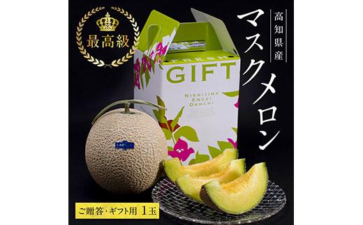 コロナ 緊急支援 高知県産 最高級マスクメロン(ご贈答・ギフト用)1玉入〈南国市共通返礼品〉ハウス栽培のため、年中お楽しみいただけます